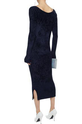 HELMUT LANG Ribbed chenille midi dress