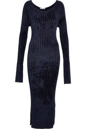 HELMUT LANG Ribbed chenille midi dress