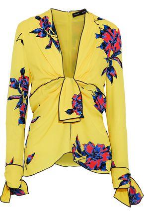 PROENZA SCHOULER Knotted floral-print silk crepe de chine blouse