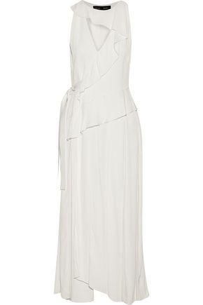 PROENZA SCHOULER Wrap-effect ruffled cutout woven midi dress