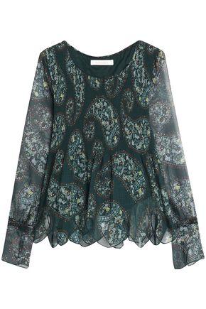 SEE BY CHLOÉ Cutout printed plissé-chiffon blouse