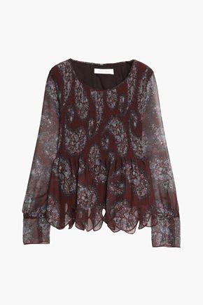 SEE BY CHLOÉ Cutout floral-print plissé-gauze blouse
