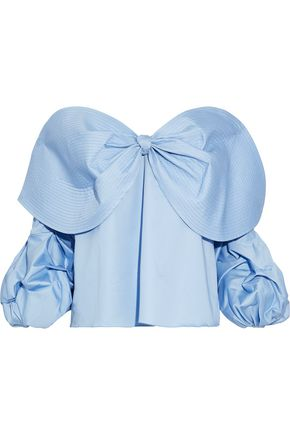 JOHANNA ORTIZ Caravan off-the-shoulder bow-embellished cotton-poplin blouse
