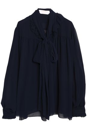 SEE BY CHLOÉ Pussy-bow ruffle-trimmed georgette blouse