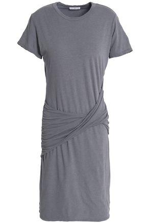JAMES PERSE Twist-front cotton-blend jersey mini dress