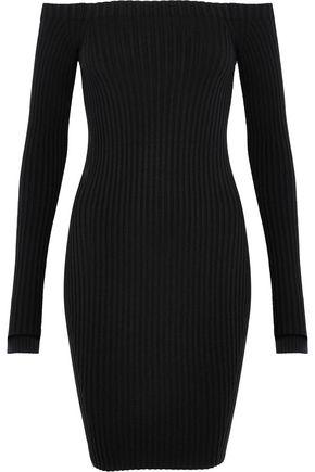 HELMUT LANG Off-the-shoulder ribbed silk-blend mini dress