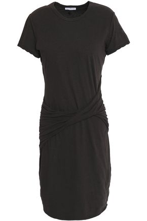 JAMES PERSE Twist-front cotton, linen and ramie-blend jersey mini dress