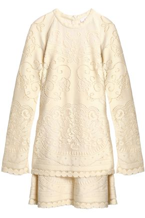 SEE BY CHLOÉ Layered pointelle-knit cotton-blend mini dress