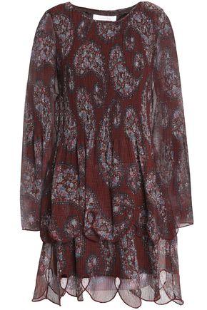 SEE BY CHLOÉ Cutout printed plissé-chiffon mini dress