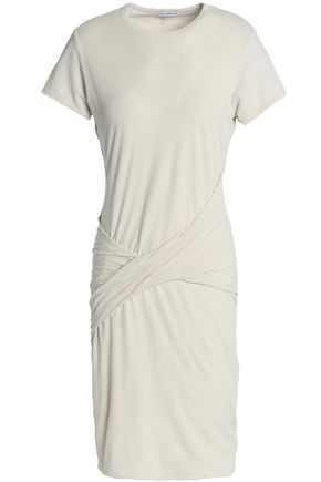 JAMES PERSE Twist-front cotton-blend jersey mini dress