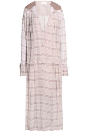 SEE BY CHLOÉ Corduroy-paneled floral-print chiffon maxi dress