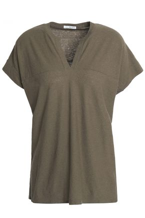 JAMES PERSE Cotton and linen-blend slub jersey top