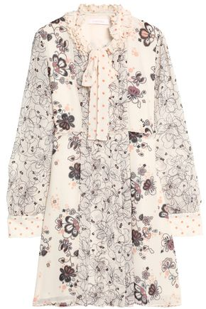 SEE BY CHLOE | See By Chloé Woman Pussy-bow Pintucked Floral-print Crepe De Chine Dress Ecru | Goxip