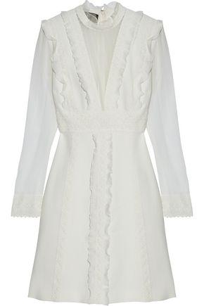 GIAMBATTISTA VALLI Crochet-trimmed ruffled silk-chiffon and crepe mini dress