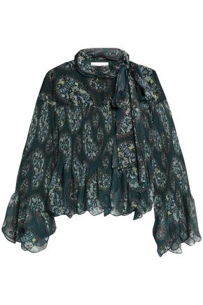 SEE BY CHLOÉ Pussy-bow floral-print plissé-georgette blouse