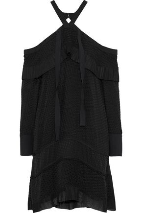 PROENZA SCHOULER Cold-shoulder ruffled fil coupé georgette dress