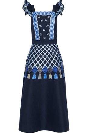 TEMPERLEY LONDON Poppy Field embroidered cotton-poplin midi dress