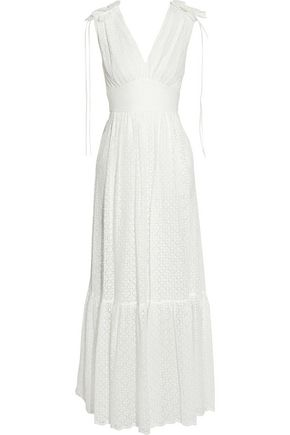 TEMPERLEY LONDON Bow-detailed fluted lace maxi dress