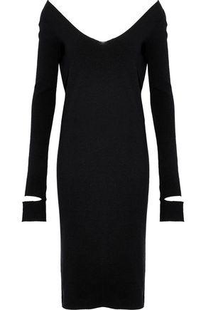 HELMUT LANG Cutout ribbed wool-blend dress