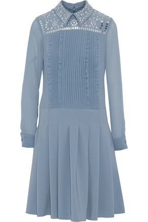 MIKAEL AGHAL Chiffon-paneled embellished pintucked cady dress