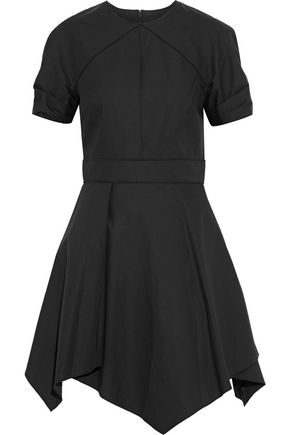 PROENZA SCHOULER Asymmetric pleated cotton-poplin mini dress