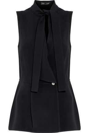 PROENZA SCHOULER Pussy-bow wrap-effect crepe top