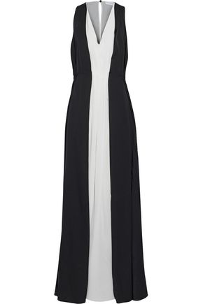 VIONNET Two-tone silk-blend crepe de chine gown
