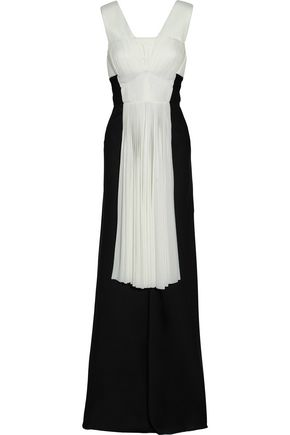 VIONNET Layered two-tone plissé stretch-knit and satin gown
