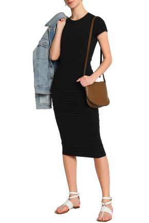 JAMES PERSE Ruched cotton-blend stretch-jersey midi dress