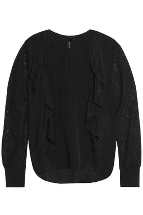 SEE BY CHLOÉ Ruffle-trimmed crepe de chine and lace blouse