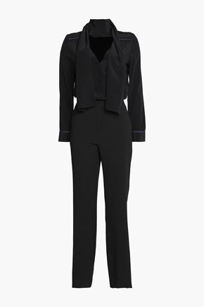 SEE BY CHLOÉ Pussy-bow satin and crepe jumpsuit
