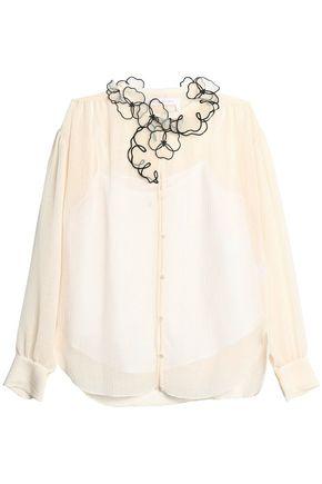 SEE BY CHLOÉ Floral-appliquéd gauze blouse