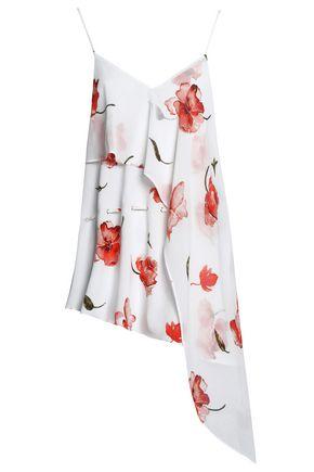 HAUTE HIPPIE Asymmetric floral-print crepe de chine camisole
