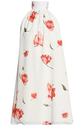 HAUTE HIPPIE Lace-up floral-print crepe de chine mini dress