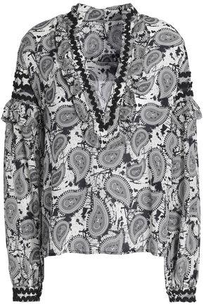 DODO BAR OR Ruffle-trimmed printed silk-crepe de chine top