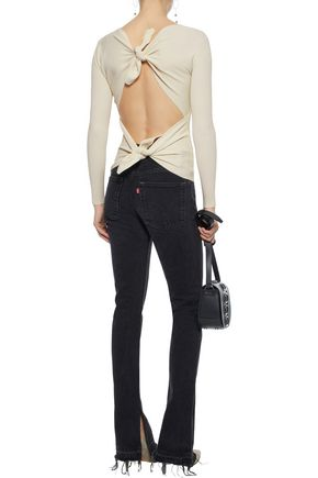 HELMUT LANG Tie-back ribbed-knit top