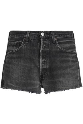 RE/DONE by LEVI'S Frayed faded denim shorts