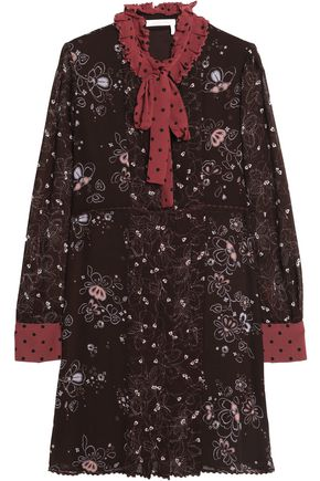 SEE BY CHLOÉ Pussy-bow pintucked floral-print crepe de chine dress