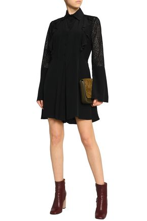Lace Paneled Ruffle Trimmed Silk Playsuit by See By ChloÉ