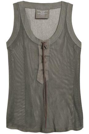 MAJESTIC FILATURES Lace-up cotton-mesh top