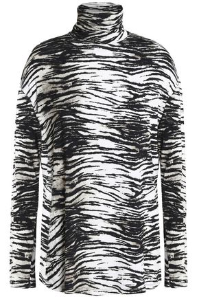 MAJESTIC FILATURES Printed stretch-jersey turtleneck top