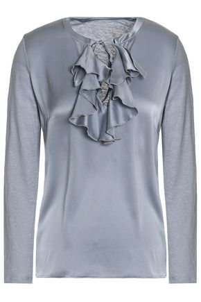 MAJESTIC FILATURES Ruffled silk-satin and slub linen-jersey top