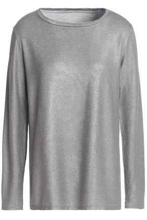 MAJESTIC FILATURES Metallic stretch-jersey top