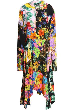 PREEN by THORNTON BREGAZZI Asymmetric floral-print silk midi dress