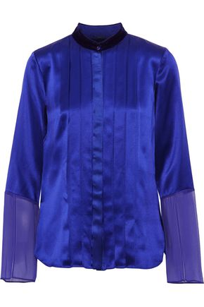 ELIE TAHARI Izarra chiffon-paneled pintucked silk-satin blouse