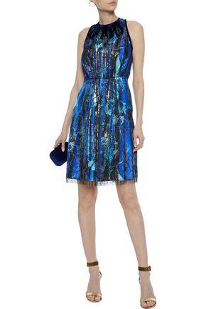 0d349b087000 ... ELIE TAHARI Demetria embellished metallic floral-print silk-blend dress  ...
