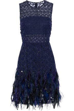 ELIE TAHARI Annabelle feather-trimmed embellished gauze mini dress