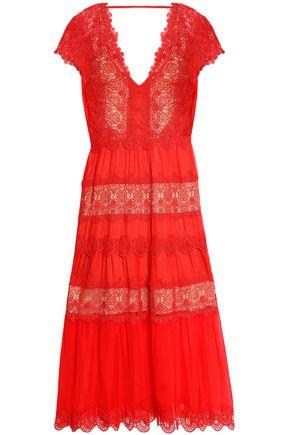 CATHERINE DEANE Guipure lace-paneled silk-chiffon midi dress