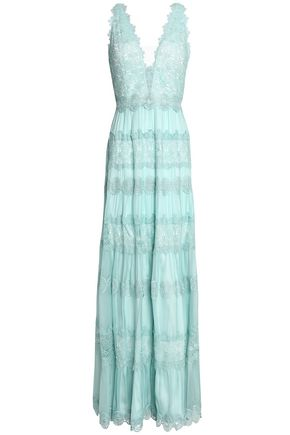 CATHERINE DEANE Guipure lace-paneled silk-chiffon gown