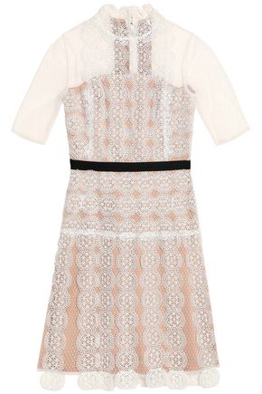 CATHERINE DEANE Grosgrain-trimmed lace mini dress